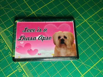 "Lhasa Apso Fridge Magnet wording ""I Love My Lhasa Apso"""
