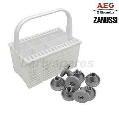 Genuine Zanussi Dishwasher Cutlery Basket With Rack & 8 Pack of Basket Wheels