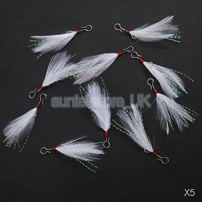50pcs Feathers Rigs Jigs Mackerel Pollack Herring Sea Fishing Tackle Lures New