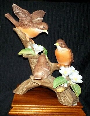 Three Butiful Robins Sitting On A Limb.Singhed J. Byron, Made By Royal Carlton