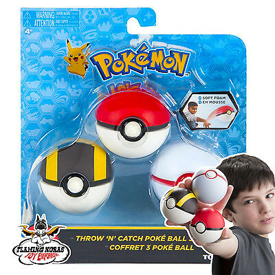 NEW 100% OFFICIAL Tomy POKEMON Throw and catch POKE BALL SET (Pack of three)