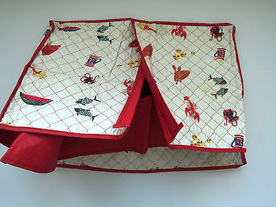 1950s Quilted Appliance Cover by Seal Sac Lobster Salad Wine Red White Kitsch