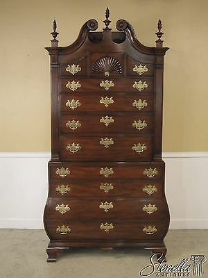 L24759EC: KITTINGER Colonial WIlliamsburg Mahogany Bombe` Chest On Chest