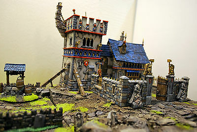"""WARHAMMER age of sigmar WAR GAME SCENERY """"CASTLE"""" WATCHTOWER - CHAPEL  PRO PAINT"""