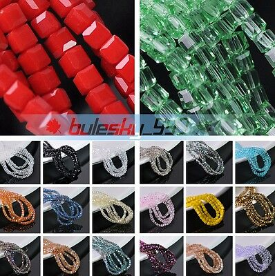 4mm 50~200pcs Cube Square Faceted Crystal Glass Loose Spacer Beads DIY Jewelry