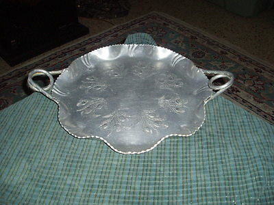 "Vintage FARBER & SHLEVIN Hand Wrought Aluminum Serving Tray 17"" W/ Twist Handles"