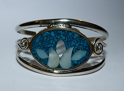Vintage Mexican Alpaca Silver, Inlaid Mother Of Pearl & Turquoise Cuff Bracelet.