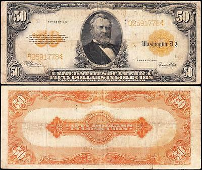 Affordable 1922 $50 *GOLD CERTIFICATE*! FREE SHIPPING! B2591778