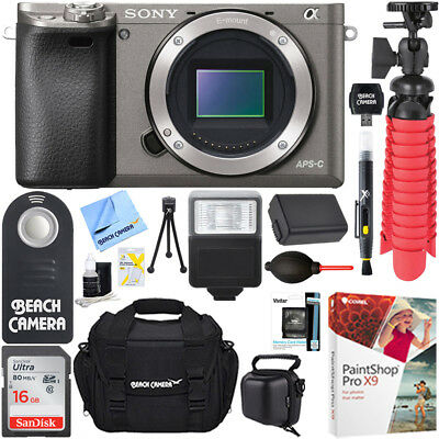 Sony Alpha a6000 24.3MP Grey Mirrorless Camera Body +64GB Accessory Bundle