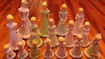 Vintage 1981 Enesco Growing Up Birthday Girls Figurines Ages Baby - 16 Blonde
