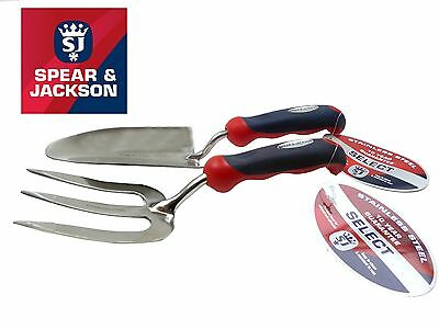 Spear & Jackson Stainless Steel Hand Trowel Garden Weed Fork 2pc Set Select