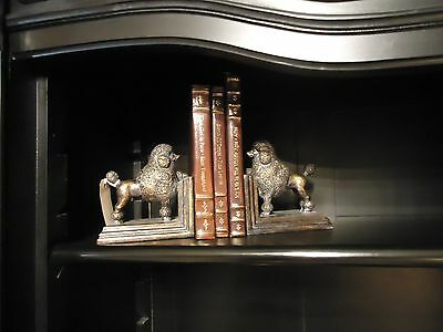 Pair French Poodle Bookends Bronzed Antique finish aged effect