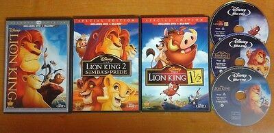 Disney LION KING 1 1.5 + 2 TRILOGY BLU-RAY ~ LIKE NEW! Authentic NO BOOTLEGS!