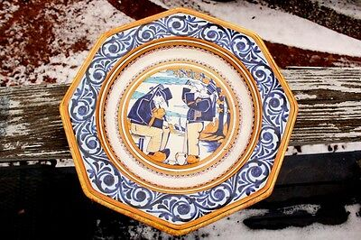 """Large Quimper Octagonal Charger featuring Breton Musicians, 14"""" Wide"""