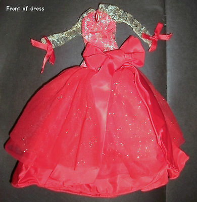 Barbie, Sindy, Midge doll clothes: Red & gold lace Princess dress, ballgown