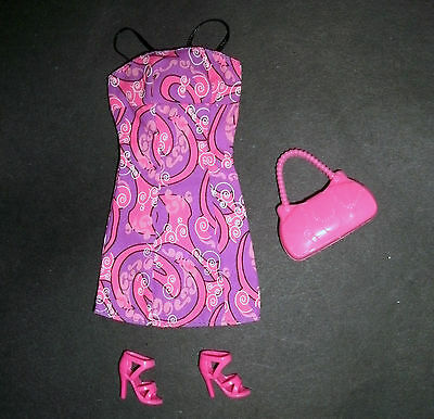 Doll clothes for Barbie, My Scene: pink print dress, bag & strappy shoes