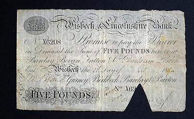 1894 WISBECH & LINCOLNSHIRE BANK £5 BANKNOTE * X 6208 * VG * Outing 2382y *