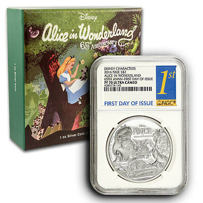 2016 Alice in Wonderland NGC PF70 FDOI NIUE 1 oz Proof Silver Coin