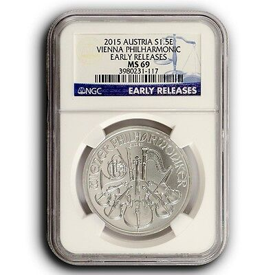 2015 Austria Philharmonic NGC MS69 Early Releases 1 oz Silver Coin