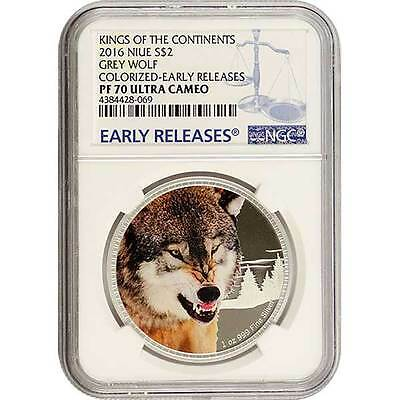 2016 Grey Wolf NGC PF70 ER NIUE 1 oz Proof Silver Coin
