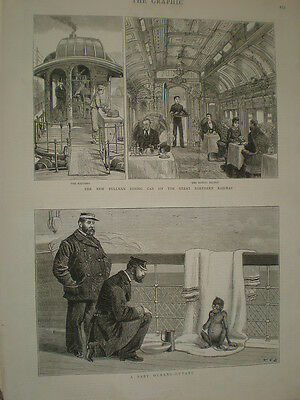 New Pullman dining car on the Great Northern Railway GNR 1879 old print