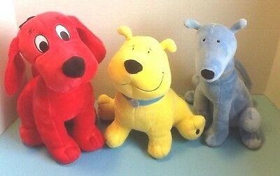 Clifford the Big Red Dog Plush Stuffed Animal w/T-Bone & Friend Lot of 3 - EUC