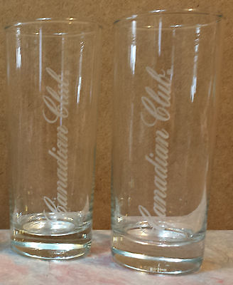 Canadian Club Branded Tall Narrow Whisky/Whiskey Set of 2 Bar Glasses