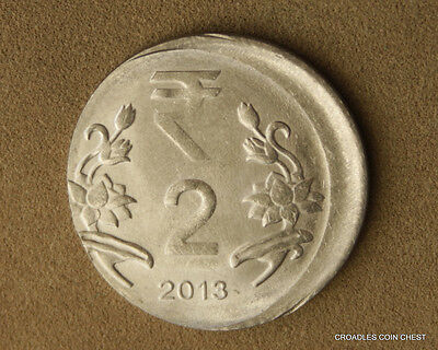 Good Off Centre Misstrike India 2 Rupee 2013 Circulated World Coin  #gaat1