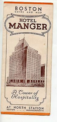 1937 Brochure Hotel Manger, Boston, MA, North Station with Boston Map