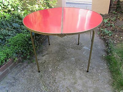 Vintage Round Folding Table Retro Mid Century Modern Picnic Camping Home Garden
