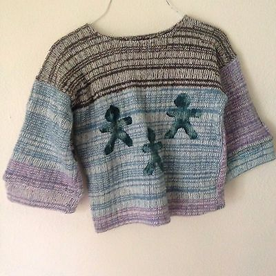 Wool cotton sweater loom knit with little people print, heavy pullover kids
