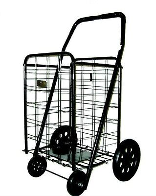 Black Heavy-Duty Shopping Cart Large Mobile Portable Fold Buggy Grocery Laundry