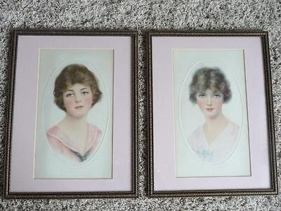 Pair of Beautiful Hires Root Beer Girls, by HASKELL COFFIN, Framed, Early 1900's