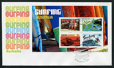 2013 Surfing Minisheet FDC First Day Cover Stamps Australia