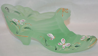 Nice Fenton Lime Green -  Decorated Shoe / Slipper Signed Stacy Williams
