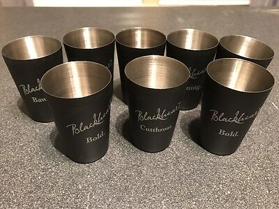 NEW Lot of 8 BlackHeart Rum Stainless Steel Shot Glasses Cutthroat, Cunning