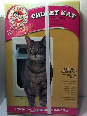 "Chubby Kat Cat Door Large 7.5"" x 10.5"" 4-Way Lock Ideal Pet Products Sealed Box"