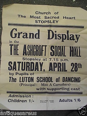 Luton School Of Dancing Stoplsey Grand Display Poster 1950's