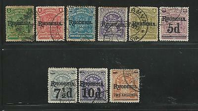 Rhodesia: Some (a) stamps used, set 1909, overprint all differents... RH21
