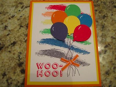 Stampin Up Birthday card handmade - Woo Hoo Bunch of Balloons colorful