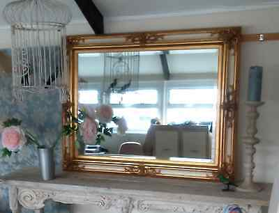 Large gilt and cream wall mirror