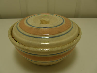 Vintage Mixing Bowl w/Lid, Cream Pink and Blue Bands USA Wade, Mccoy, ?