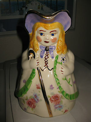 "vintage Shawnee Pitcher LITTLE BO PEEP 8"" green trim on coat, gold trims, decals"