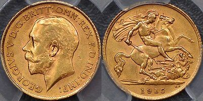 Great Britain, 1915 Half Sovereign - PCGS MS63