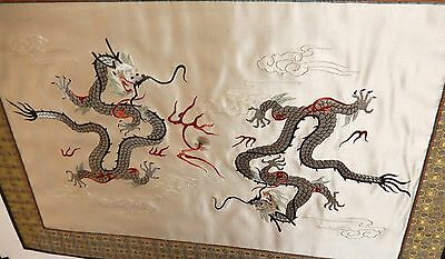 Large Japanese Fire Dragons Silk Embossed Embroidered Tapestry Painting Unsigned