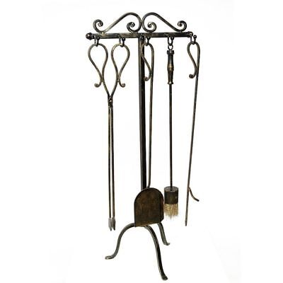 G1178: Rustic Chimney Set, Fireplace Tool Set Fireside Iron 4 Parts and Stand