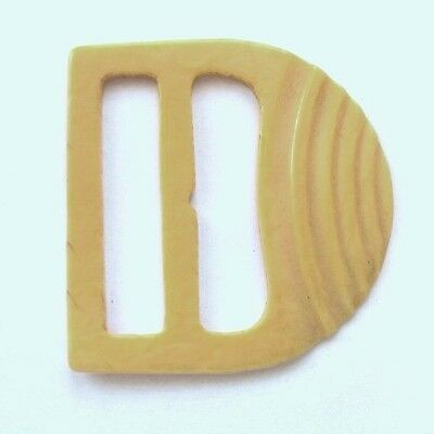 Vintage Buckle Celluloid 1930's Yellow 5.5. X 5.5 Cm