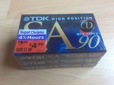 3 x TDK SA-90EB High Position IECII/TYPE II for CD Blank Sealed Cassette Tapes