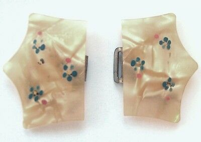 Vintage Buckle Celluloid 1930's Pearly Look Hand Painted Very Unusual