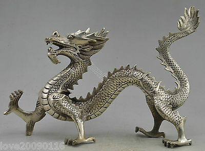 Collectible Decorate Old Handwork Miao Silver Carved Vivid Dragon Walk Statue